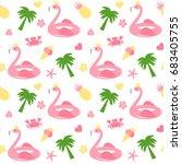 cute flamingo float seamless... | Shutterstock .eps vector #683405755