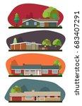 vector mid century house set | Shutterstock .eps vector #683407291