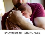 unrecognizable young father at... | Shutterstock . vector #683407681