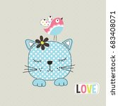 cute cat with bird  love card... | Shutterstock .eps vector #683408071