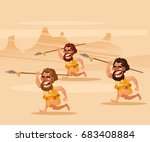 angry hungry primitive cavemen... | Shutterstock .eps vector #683408884