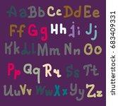 hand drawn alphabet. brush... | Shutterstock . vector #683409331