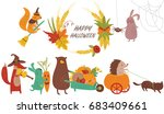 halloween poster with cute... | Shutterstock .eps vector #683409661