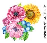 a bouquet of summer flowers ... | Shutterstock . vector #683413249
