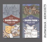 two dairy farm shop labels with ... | Shutterstock .eps vector #683413375