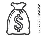 money bag line icon  business...