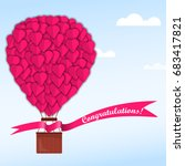 pink hearts on a balloon in a... | Shutterstock .eps vector #683417821