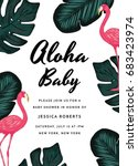 tropical baby shower invitation ... | Shutterstock .eps vector #683423974