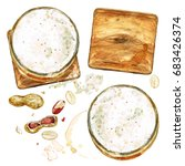 beer glasses . watercolor... | Shutterstock . vector #683426374