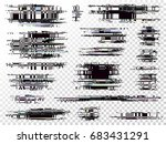 glitch elements set. computer... | Shutterstock .eps vector #683431291