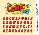Comic Retro Font Set. Alphabet...