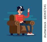 guy having a good time sitting... | Shutterstock .eps vector #683437141