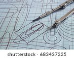 drawing and compasses | Shutterstock . vector #683437225