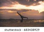 young woman yoga exersice...   Shutterstock . vector #683438929