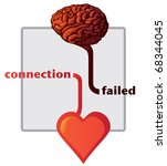 connection between heart and brain failed - illustration - stock vector