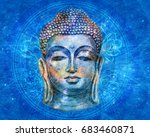 head of lord buddha digital art ... | Shutterstock . vector #683460871