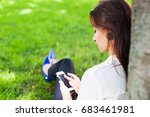 girl works with her phone... | Shutterstock . vector #683461981