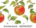 seamless pattern with red... | Shutterstock .eps vector #683463367