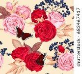 beautiful roses seamless | Shutterstock .eps vector #683467417