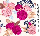 beautiful roses seamless | Shutterstock .eps vector #683467429
