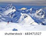 off piste skiers near les deux... | Shutterstock . vector #683471527