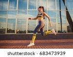 fitness girl running   Shutterstock . vector #683473939