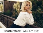 fashion outdoor photo of... | Shutterstock . vector #683474719