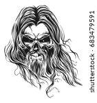 bearded skull | Shutterstock .eps vector #683479591