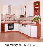 interior of  beige kitchen in... | Shutterstock . vector #68347981