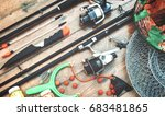 fishing equipment on a old... | Shutterstock . vector #683481865