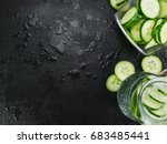 cucumber water on a vintage... | Shutterstock . vector #683485441