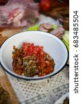 caviar from eggplant  pepper... | Shutterstock . vector #683485504