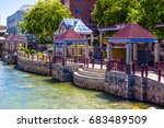 river walk in downtown reno ... | Shutterstock . vector #683489509