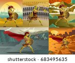 gladiator  greece trojan... | Shutterstock .eps vector #683495635