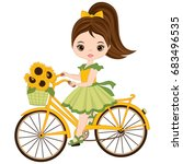 vector cute little girl riding... | Shutterstock .eps vector #683496535