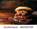 the casanova burger on cutting... | Shutterstock . vector #683500789