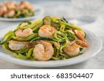 skinny shrimp scampi with... | Shutterstock . vector #683504407