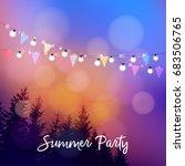 birthday outdoor summer party... | Shutterstock .eps vector #683506765