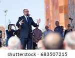 Small photo of Gdansk, Poland, 22.07.2017 - President of Gdansk Pawel Adamowicz speaking during the demonstration supporting independence of the Polish judiciary and against the Law and Justice Party