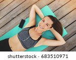 cheerful fitness girl. top view ... | Shutterstock . vector #683510971