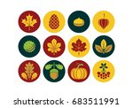 autumn icons in modern line...