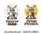 ancient windmill  mill logo or... | Shutterstock .eps vector #683513881