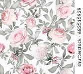 seamless pattern with pink... | Shutterstock . vector #683515939