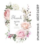 Stock photo vintage card watercolor wedding invitation design with pink roses bud and leaves flower 683516389