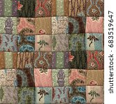 country patchwork quilt... | Shutterstock . vector #683519647
