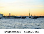 Sunset On The Neva River On Th...