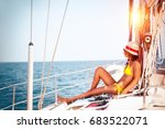 woman relaxing on sailboat ... | Shutterstock . vector #683522071