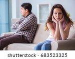 young family in broken... | Shutterstock . vector #683523325