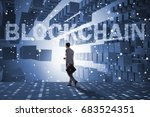 businessman in blockchain... | Shutterstock . vector #683524351