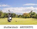 golf equipment and golf bag ... | Shutterstock . vector #683530591